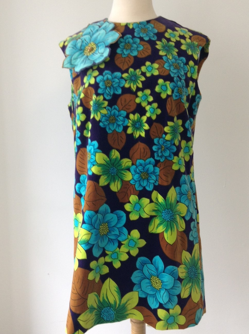 Green and Blue Velour Flower Print Dress