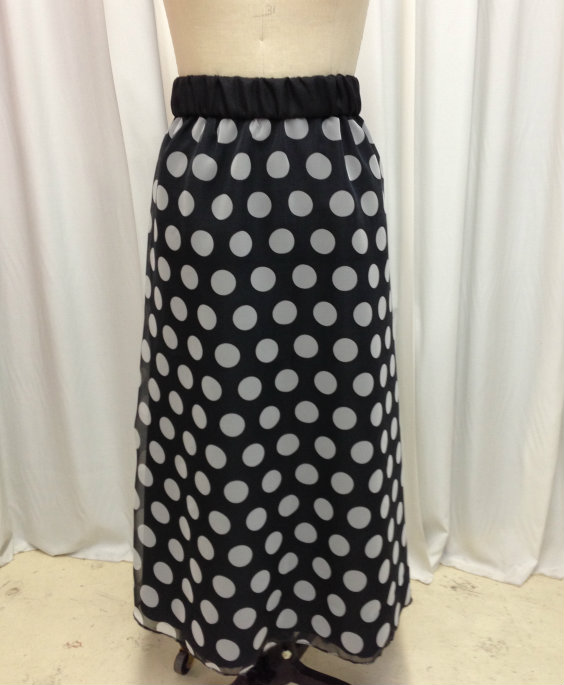 Black and White Polka Dot Chiffon Overlay Skirt
