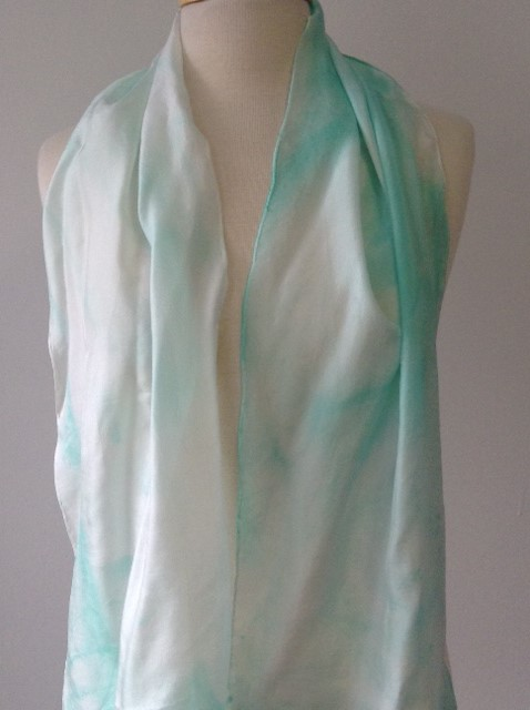 100% Silk Scarf - Aqua & White