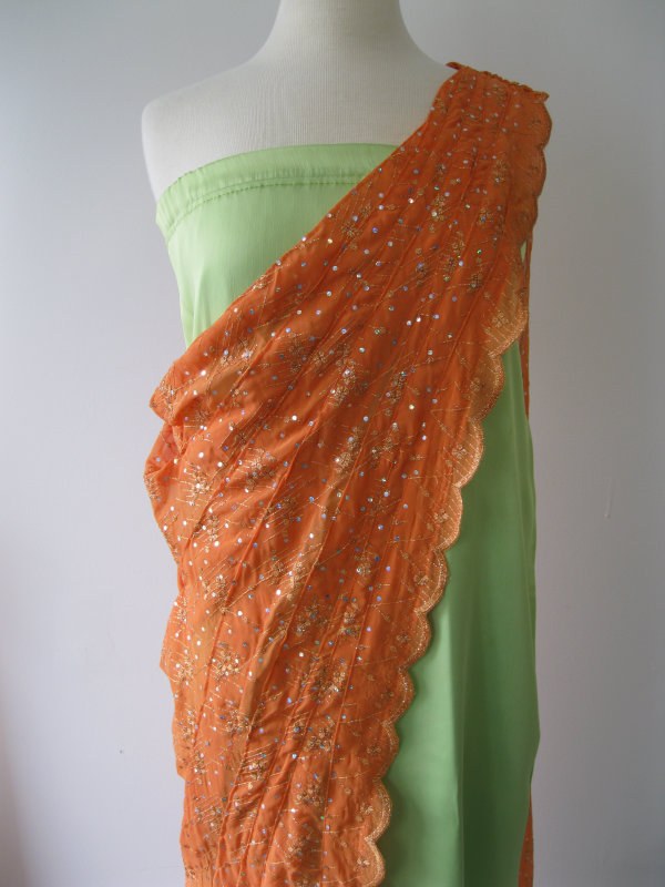 Ethnic Green & Orange Dress
