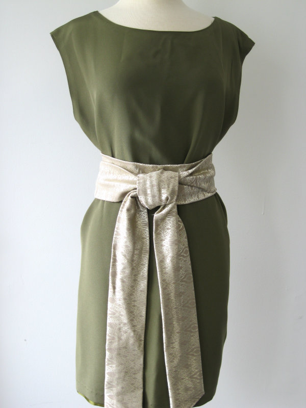 Olive Silk Sheath Dress with Brocade Obi Sash