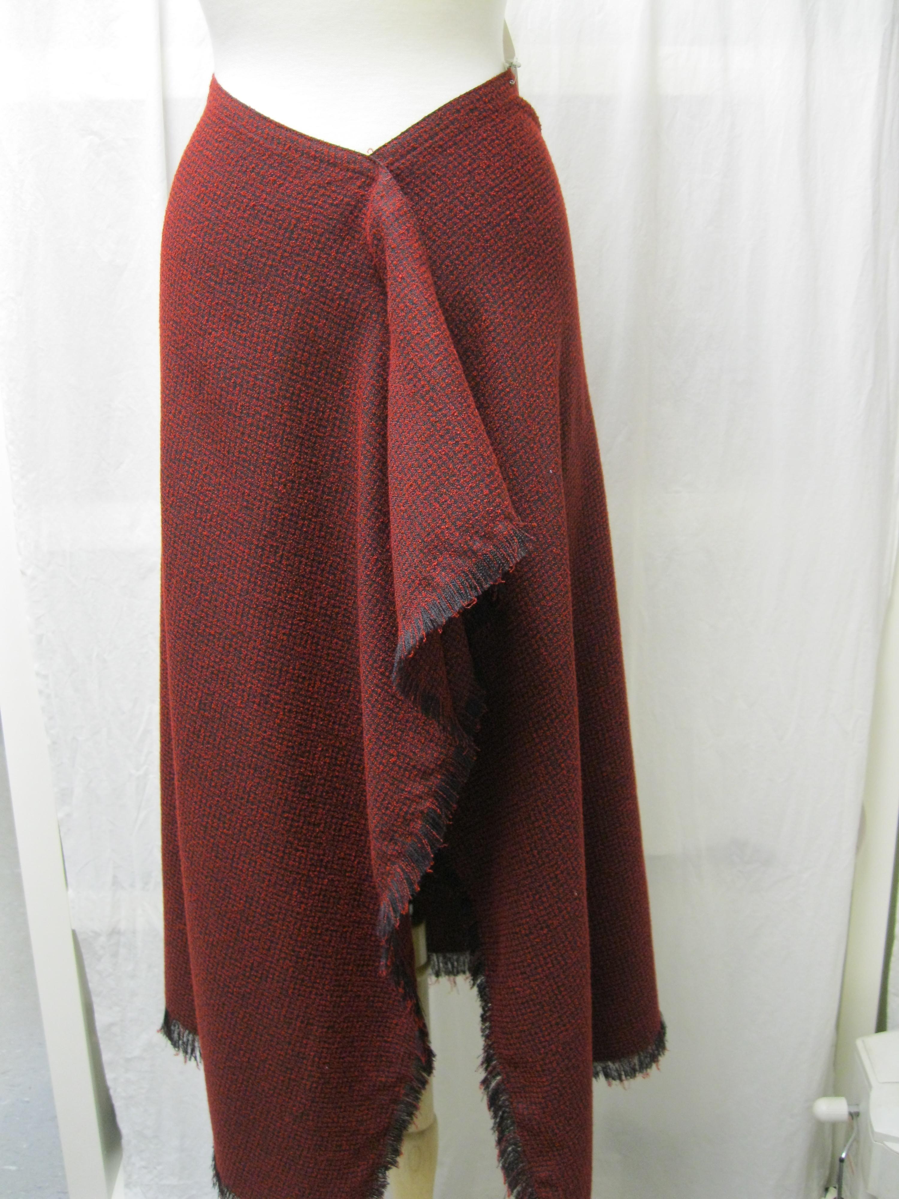 100% Wool Red & Black Wrap Skirt