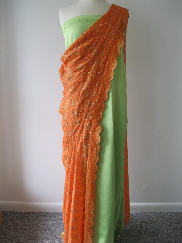 Ethnic Green & Orange Dress