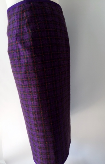 Purple Plaid Polyester Knit Wrap Skirt