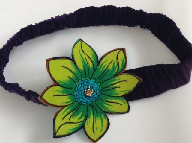 Green and Blue Velour Flower Print Dress