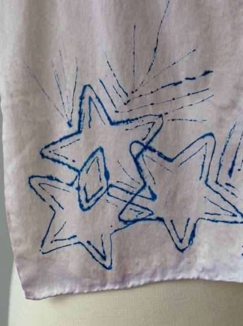 100% Silk Scarf - Blue Stars