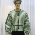 Green/beige vertical stripe snap up Doublet with green trim and tassels