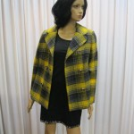 Yellow and black plaid double breasted peacoat